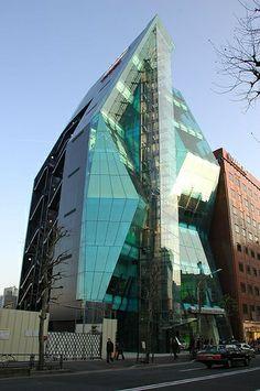 """Audi Forum Tokyo  Das Audi Forum Tokyo in Shibuya, in einem Gebäude, dass passenderweise """"The Iceberg"""" heißt. Audi, Deconstructivism, Glass Facades, Opera House, Tokyo, Architecture, Building, Arquitetura, Tokyo Japan"""
