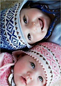 Fair Isle knit hats for twin babies