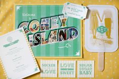 yellow and mint wedding stationery by Steven Vogel