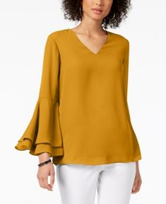 Alfani V-Neck Poet-Sleeve Top, Created for Macy's - Tops - Women - Macy's Bell Sleeve Blouse, Bell Sleeves, Bell Sleeve Top, Macys Tops, Daytime Dresses, Dresses With Leggings, Ladies Dress Design, Casual Tops, Skirts