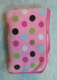 Pink Fleece Polka Dots Baby Blanket Soft Beansprout Yellow