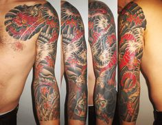 black red tattoo sleeve 8531 Santa Monica Blvd West Hollywood CA 90069 - Call or stop by anytime. UPDATE: Now ANYONE can call our Drug and Drama Helpline Free at 3 4 Sleeve Tattoo, Full Tattoo, Dragon Sleeve Tattoos, Sleeve Tattoos For Women, Tattoo Sleeve Designs, Tattoos For Guys, Red Tattoos, Tattoos Skull, Asian Tattoos