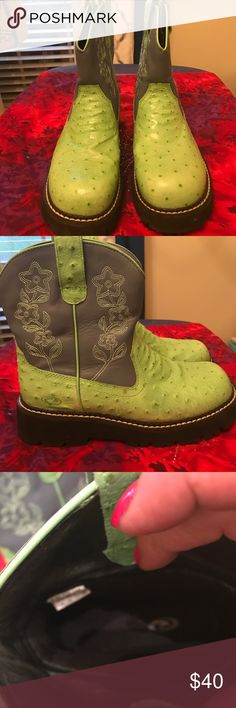 Roper Size 8 slip on short boots. Green bottom, blue top. New never worn. Great boots. Love them just never got around to wearing them. Roper Shoes Ankle Boots & Booties