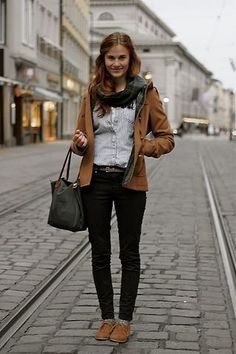 Love the jacket and shoes that match perfectly... Great for fall!