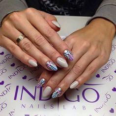 by Ania Leśniewska Indigo Educator Ostrołęka :) Find more inspiration at www.indigo-nails.com #nailart #nails #indigo #aztec #pastel #grey #lilac