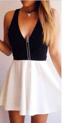 Black And White Splicing Dress