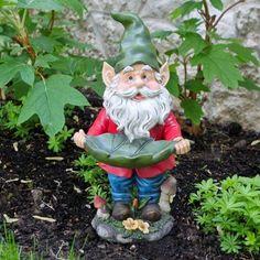 Gnome with Leaf Birdfeeder Statuary