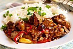 Recept na Lehce pikantní kuřecí játra Meat Recipes, Healthy Recipes, Ham, Food And Drink, Menu, Fish, Chicken, Cooking, Recipes