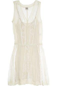Haute Hippie  Silk-georgette and lace dress