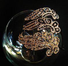 antique bronce KONPLOTT aparte Ohrhänger Vintage Pearl crystal