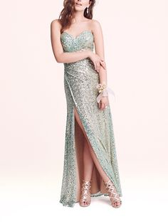 This strapless sequin gown would be perfect for an 'under the sea' themed prom.