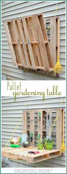 Fould out gardening table with two pallets - genius!   14 Pallet Projects For Your Garden This Spring