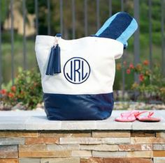 This is the perfect personalized monogrammed canvas carryall tote for work, travel, beach days, the gym or to use as a diaper bag