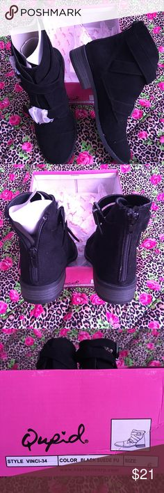 Nwt Suede black ankle boot Very nice black ankles boot size 6 , about one inch heel , zip up from the back, buckle straps for design, still in box, get a new pair sock for free💕 Qupid Shoes Heeled Boots