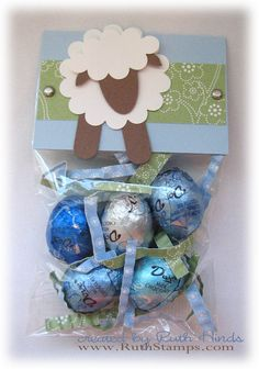 sheep treats: baptism favor Fill the favor bag with Dove Promises. Serve lamb shaped cupcakes for dessert.
