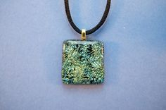 Dichroic glass pendant green iridescent from Ivy Tree Designs. $20.00