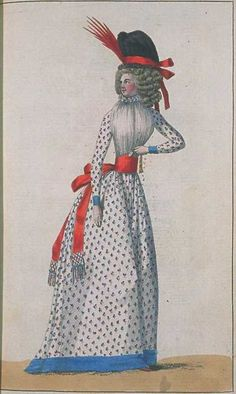 Journal de la Mode et du Gout, April 1790.  I love her sash, but I'm definitely confused about her…kerchief? Is that what it is? The ruffles around the neck almost make it seem like a chemisette, but it is definitely above the bodice. What say you, reader?