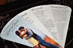 Fan Wedding Programs: Custom Photo Fan Wedding Programs, Fan Wedding Invitations, Fan Programs for Beach Wedding, Wine