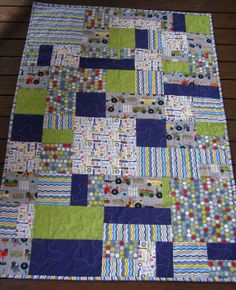 Baby Boy Cot Quilt modern patchwork by BlackTulipQuilts on Etsy, $150.00