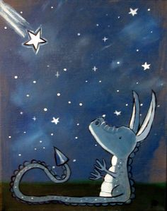 Children's Art Dragon Kids Wall Art Original Painting by andralynn
