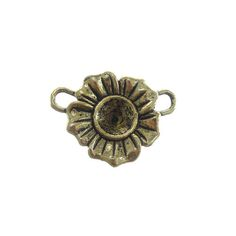 Antique Gold Pewter Flower Connector, 22x28mm