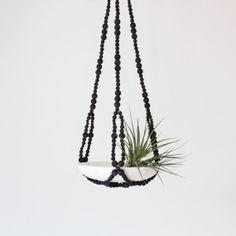 Beaded Hanging Planter / Modern Plant Hanger / Hand by HRUSKAA