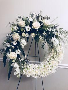 Casket Flowers, Funeral Flowers, Funeral Arrangements, Flower Arrangements, White Wreath, Floral Wreath, Altar, Sympathy Flowers, Summer Wreath