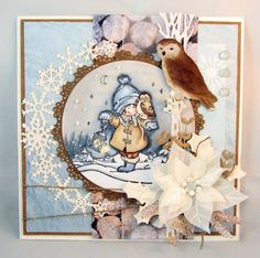 Handmade card by DT member Gudrun with among others clear stamp Snoes & Owl (HM9475), Eline's Poinsettia (COL1393), Craftables Basic Circles (CR1331), Ice Crystals Arche (CR1345) and Owl & Hedgehog (CR1339) by Marianne Design