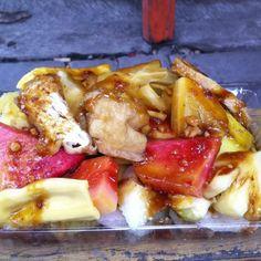 Rujak manis Jl Polisi Istimewa, Surabaya...mixed fruit with the most amazing sweet peanut sauce