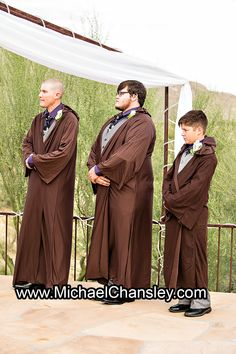 groomsmen dressed up in robes at Star Wars themed wedding at Saguaro Buttes wedding venue in Tucson AZ Arizona by Michael Chansley Photography wedding photographer Tucson ideas cactus saguaro desert idea cute fun romantic letters gift pond lake sunset views couple