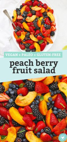 Peach Berry Fruit Salad - This summer fruit salad uses the BEST combination of fresh peaches and berries with a bright, tangy dressing to make a beautiful side dish everyone will love! (Paleo or Vegan) // Peach Fruit Salad Recipe // Summer Fruit Salad Recipe // BBQ Side Dish // Side Salad #paleo #vegan #fruitsalad #peach #berry Fruit Salad Making, Best Fruit Salad, Summer Salads With Fruit, Fruit Salad Recipes, Healthy Dessert Recipes, Fruit Salads, Breakfast Recipes, Breakfast Healthy, Summer Food