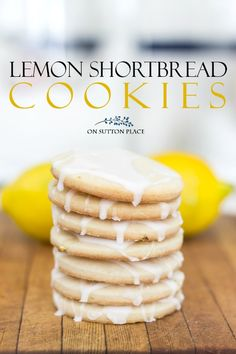 A fresh lemon and sugar glaze tops off these lemon shortbread cookies. They melt in your mouth! A fresh lemon and sugar glaze tops off these lemon shortbread cookies. They melt in your mouth! Chocolate Chip Shortbread Cookies, Shortbread Recipes, Lemon Cookies, Yummy Cookies, Cookie Recipes, Dessert Recipes, Lemon Cupcakes, Spice Cookies, Bar Cookies