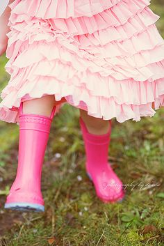 Pink ruffles and wellies