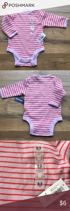 NWT Old Navy infant girls' striped onesie 0-3 mos NEW WITH TAGS! Pink (with a tinge of lavender) with red stripes onesie with long sleeves Infant baby girls size 0-3 mos Snaps in crotch Old Navy One Pieces Bodysuits