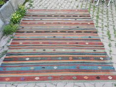 "6'6"" x 7'7"" almost square size vintage turkish kilim, kilim rug multi color bohemian rug wool kilim boho kilim decorative kilim rug"