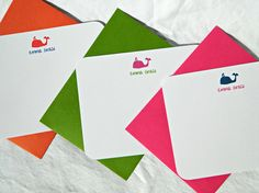 Personalized Stationery Flat Notecards  Whales by hedoepaper, $16.00