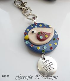Ref M13-03 PC Bird Round Key Ring Blue