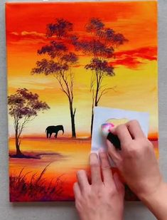 Scenary Paintings, Landscape Paintings, Canvas Painting Tutorials, Diy Canvas Art, Sunset Acrylic Painting, Acrylic Painting For Beginners Step By Step, Africa Painting, Watercolor Art Lessons, Cool Art Drawings