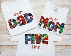 SUPERHERO Shirt / MOM DAD Birthday Shirt / Superher Dad Shirt / 1st Birthday Outfit / 2nd Birthday Outfit / 3rd Birthday Outfit / Sibling by RightUpYourAli1 on Etsy https://www.etsy.com/listing/515626461/superhero-shirt-mom-dad-birthday-shirt