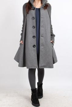 Knitted sleeve wool cape coat 4 color/ gray par MaLieb sur Etsy, $129.00
