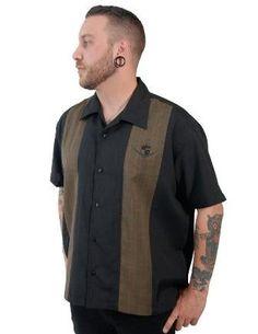 Mens V-8 Cruiser Button-up Paneled Bowling Shirt