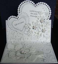 This is a very pretty cards Wedding Cards Handmade, Beautiful Handmade Cards, Pretty Cards, Love Cards, Card Making Designs, Wedding Anniversary Cards, Card Wedding, Engagement Cards, Fancy Fold Cards