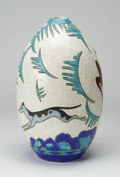 Belgian KERAMIS Art Deco Vase BOCH Freres circa 1930. (hva)
