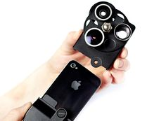 'iPhone lens dial' with three lenses (wide angle, telephoto and fish eye) for the iPhone's built-in camera.     HT @visagecreative
