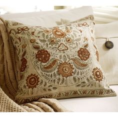 Pottery Barn Terra Kalamkari Embroidered Pillow Cover ($40) ❤ liked on Polyvore