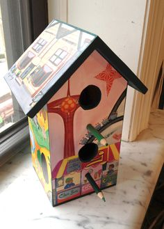 Birdhouse made by @Heather Scott using art from B is for Brooklyn by Selina Alko