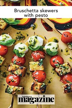 A neater, easier and far more fun way to serve bruschetta, this Italian-style appetiser is perfect with a cocktail. These bruschetta skewers with homemade pesto are a gorgeous sharing dish for the summer, whether it's a bbq, picnic or al fresco lunch in the sun. Get the Sainsbury's magazine recipe Fresh Pesto Recipe, Italian Bruschetta Recipe, Sizzling Recipe, Bruchetta Recipe, Wellington Food, Homemade Pesto, Easy Family Meals, Yummy Appetizers, Skewers