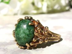 Unique Naturalist Style Jade Green Colored by LadyRoseVintageJewel