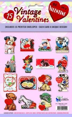 15 Vintage Valentines: A Valentine for Everyone: 15 Die-Cut Cards in Bag with Decorated Envelopes
