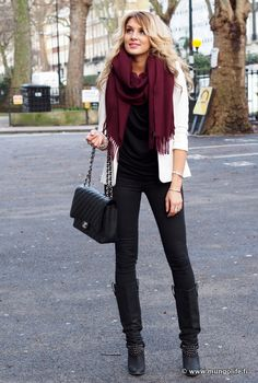 Casual Outfit by Mungolife.fi. Classic colors all together. Burgundy scarf, white jacket, black shirt, jeans, black boots.